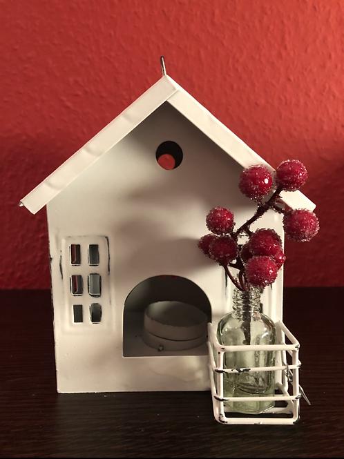 Haus mit kleiner Flasche - Zink/Weiß