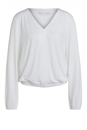 Oui - Blusenshirt im sportlichen Look - Weiß
