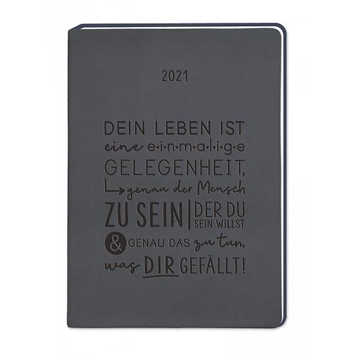 "Grafik Werkstatt Terminplaner A6 ""Dein Leben..."" - Lederlook Schwarz"