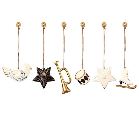 Maileg - Dekorative Weihnachtsanhänger (6 Stück) aus Metall - Weiß/Gold/Schwarz