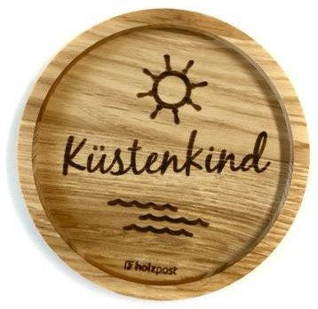 Holzpost - Untersetzer aus Eichenholz - Küstenkind