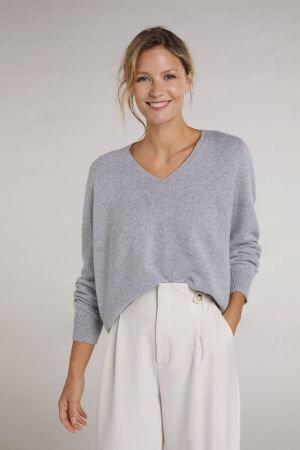 Oui - Pullover mit V-Ausschnitt - Grau