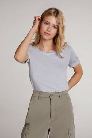 Oui - T-Shirt aus organischer Baumwolle - Grau