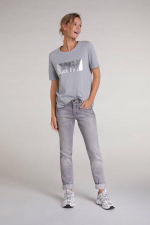 Oui - T-Shirt mit Metallic-Print