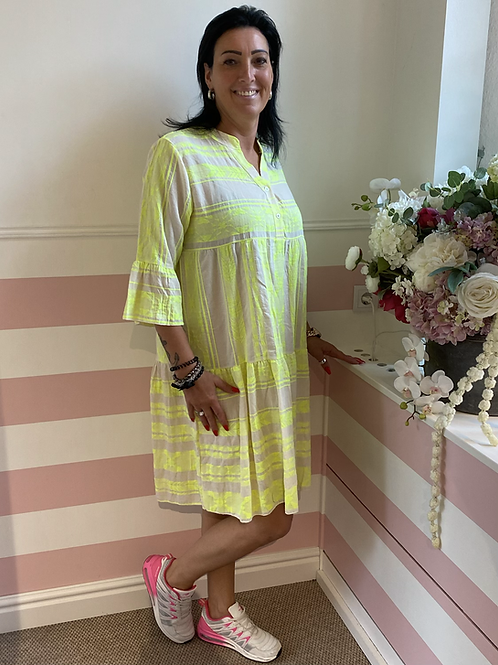 Tolles Sommerkleid mit Muster in Neonfarben - Gelb