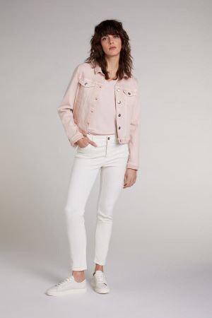 Oui - T-Shirt mit V-Ausschnitt - Rosa