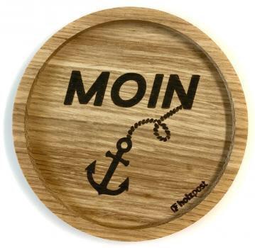 Holzpost - Untersetzer aus Eichenholz - Moin