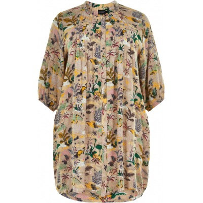 Gozzip - Lange Tunikabluse mit floralem Muster