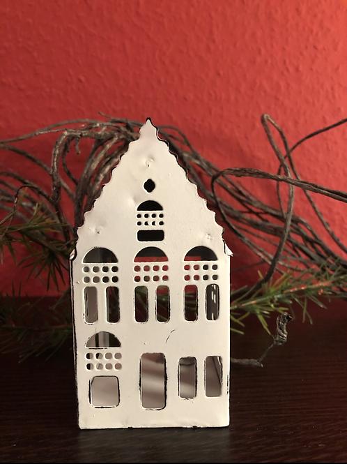 Haus klein mit spitzem Dach - Zink/Weiß