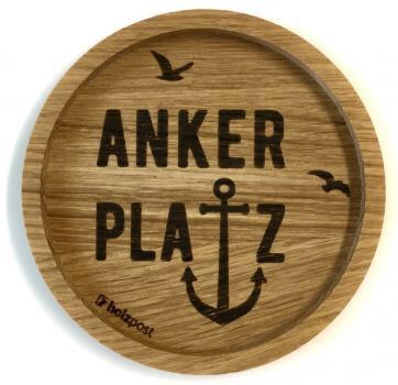 Holzpost - Untersetzer aus Eichenholz - Ankerplatz