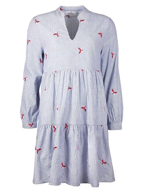 Zwillingsherz - Gestreiftes Tunikakleid mit Schmetterlingen - Blau