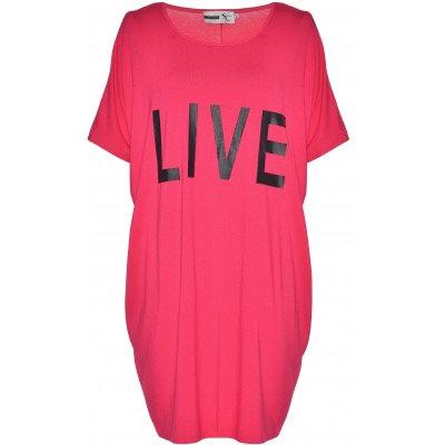 "Studio - Longshirt mit Print ""Live"" - Pink"