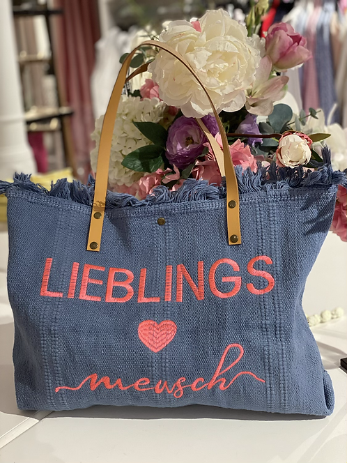"Shopper / Strandtasche ""Lieblingsmensch"" - Blau/Koralle"