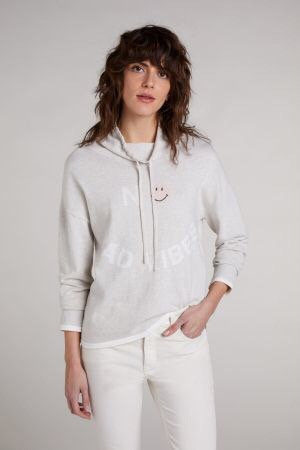 Oui - X Smiley® Pullover - Creme