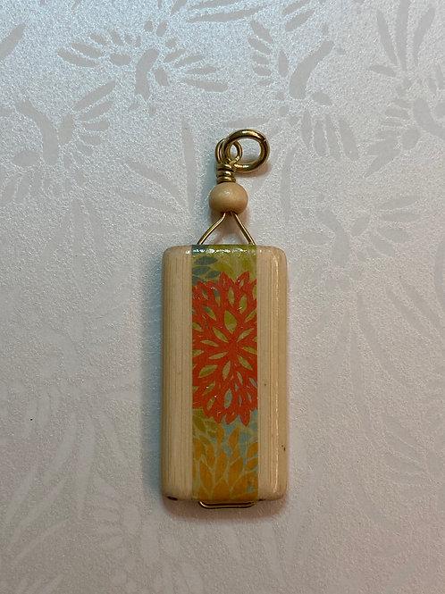 Bamboo Tile Pendant--Orange Flower