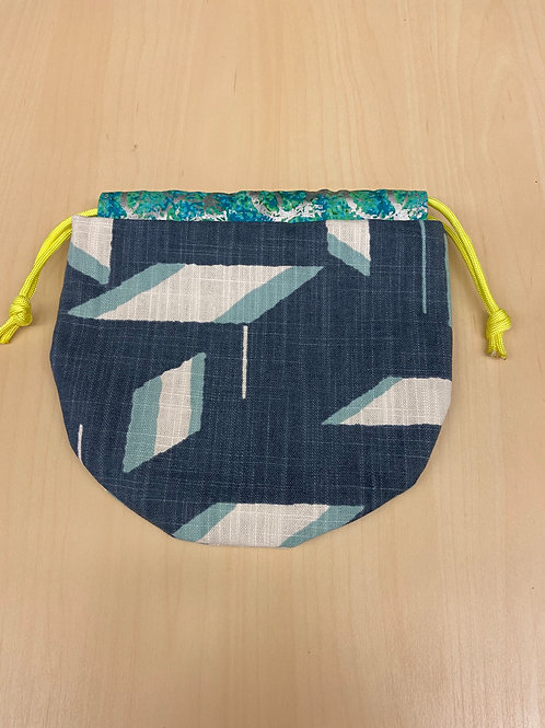 Drawstring Pouch--Blue Abstract