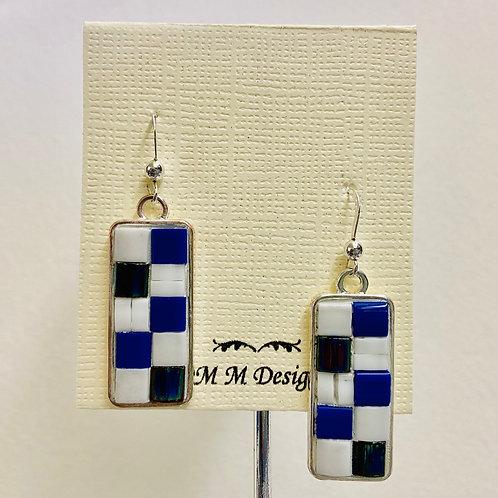 Mosaic Earrings--Blue & White