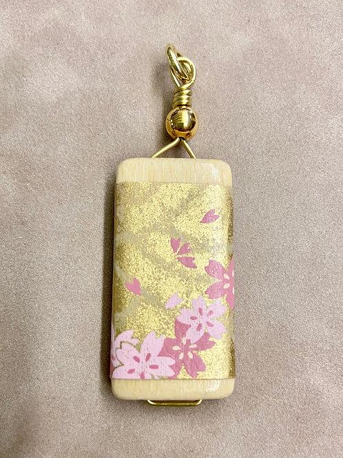 Bamboo Tile Pendant--Pink & Gold