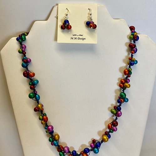 Multi-colored Knotted Necklace & Earrings