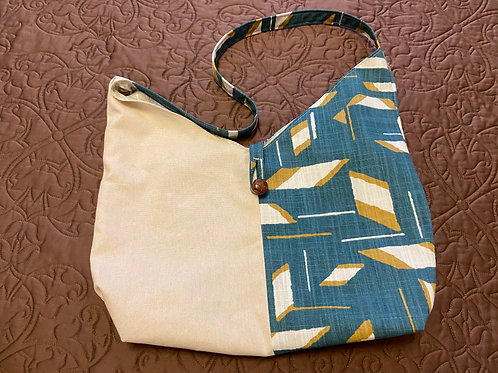Two-Tone Tote--Teal Abstract