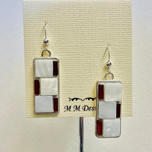 Red & White Mosaic Earrings
