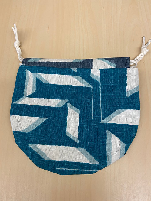 Drawstring Pouch-Teal Abstract