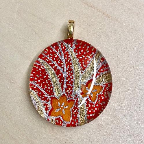 Unframed Glass Tile Pendant--Orange & Red