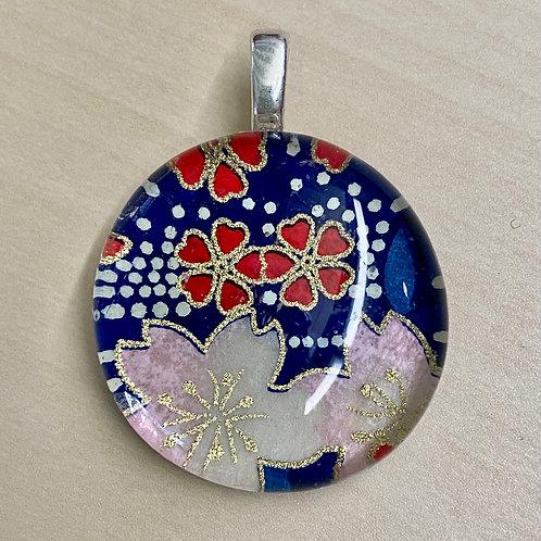 Unframed Glass Tile Pendant--Blue