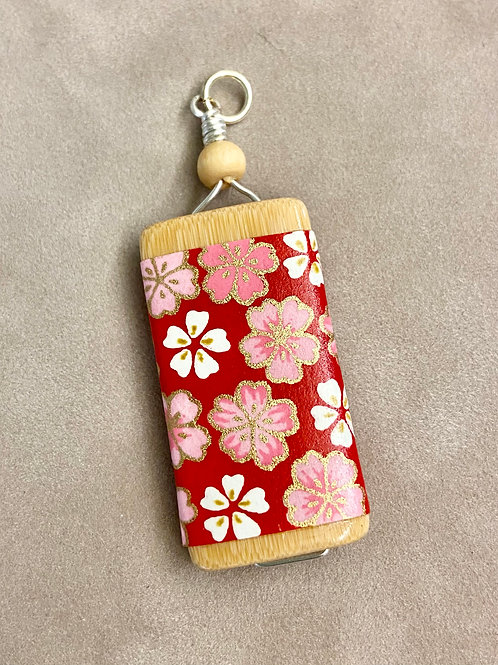 Bamboo Tile Pendant--Pink & White Flowers on Red