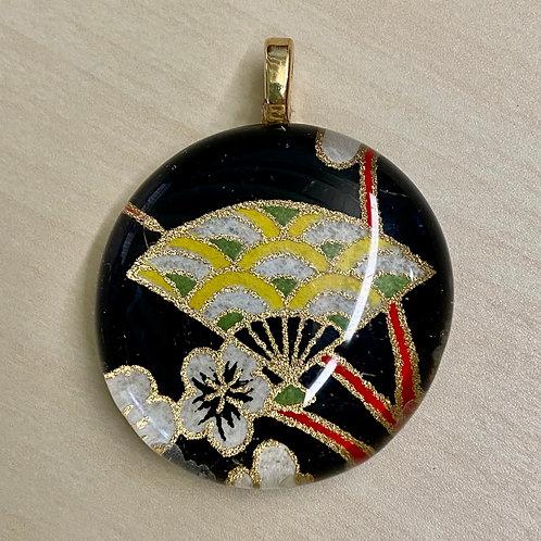 Unframed Glass Tile Pendant--Yellow Fan