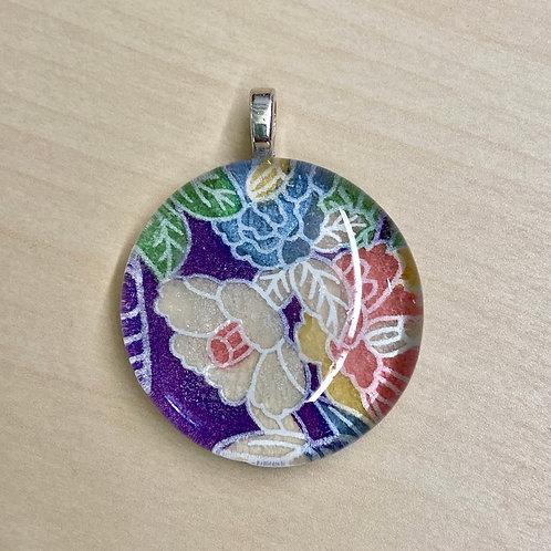 Unframed Glass Tile Pendant--Purple