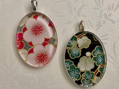 Glass Tile Pendants--Pink & Green
