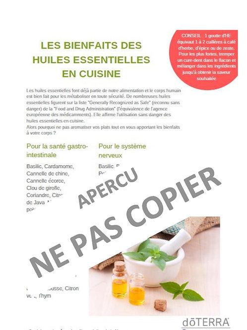 Fiche cuisiner avec les huiles essentielles