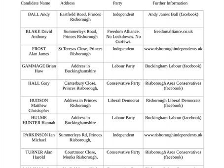 2021 Local Elections - Candidates for Buckinghamshire Council