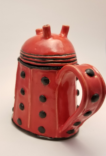 Handmade Pottery Dalek Coffee Tea Mug with Cover - made to order
