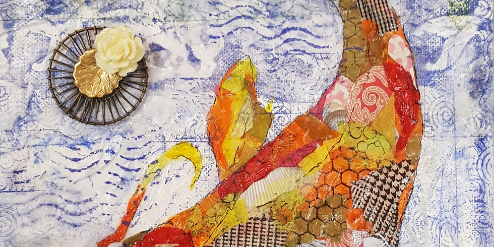 Painting with Paper!  Koi Fish
