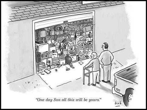 cartoon of fully loaded garage