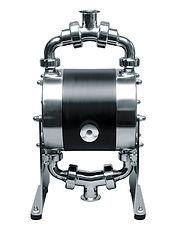ALMATEC, bomba neumática de doble diafragma AODD, industrial e higiénica. Series: Biocor (higiénica, 3A, FDA, EHEDG) E (plástica, PE o PTFE con opción a conductiva), CX (Polietileno conductivo, pequeña), Chemicor (acero inoxidable neumática) y AH (Alta presión, filtro prensa, polietileno alta densidad)