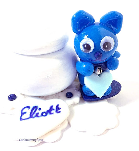 boite bois figurine fimo chat kawaii : cadeau prénom bébé enfant