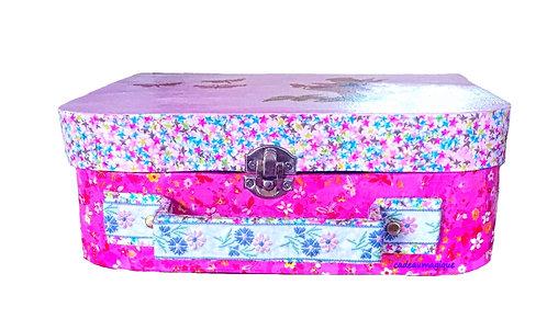 valise enfant rose glamour en carton - décoration chambre fille