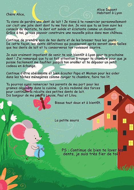 adorable lettre personnalisée de la petite souris : idée cadeau enfant