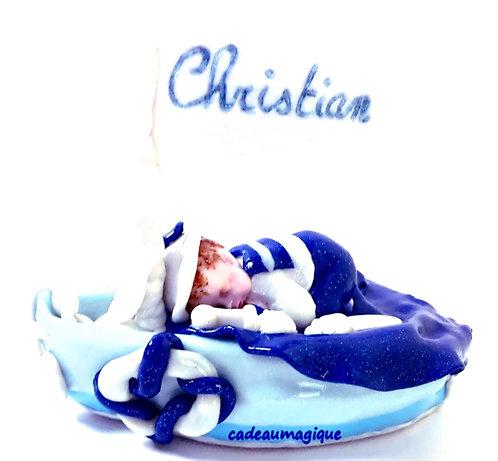 bateau et bébé beret costume marin fimo : cadeau naissance personnalise