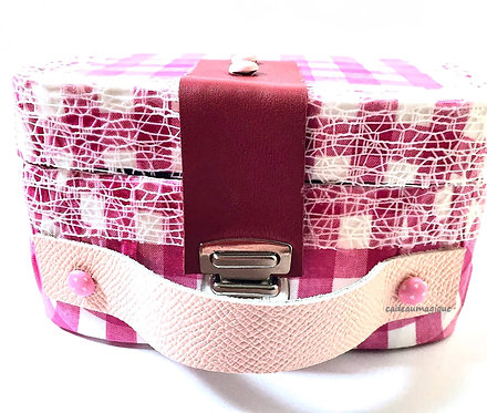 valise enfant vichy en carton : cadeau anniversaire fillette