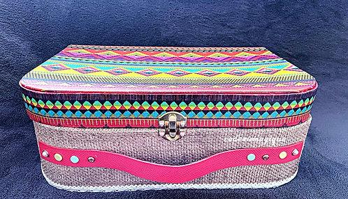 valise vintage en carton couleurs Peps et toniques : cadeau personnalisé