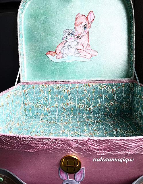valise faon lapinou carton : cadeau naissance personnalisable