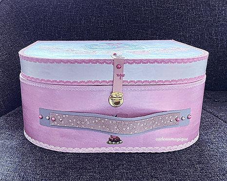 """valise carton """"Calissa"""" faon lapin : coffret de naissance personnalisable"""