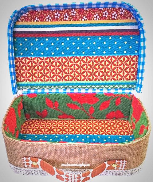 valise vintage carton tissu gypsy - boite a bijoux - boheme