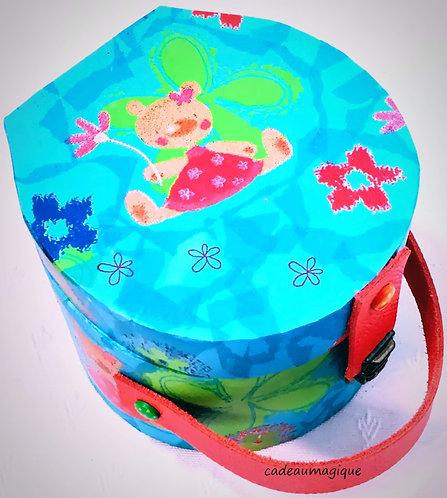 valise enfant - boite ronde turquoise carton - boite cadeau