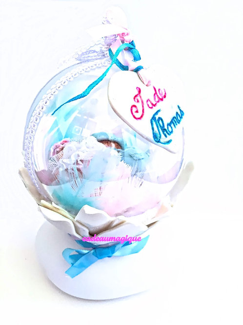 veilleuse jumeaux - fimo : cadeau naissance personnalisé