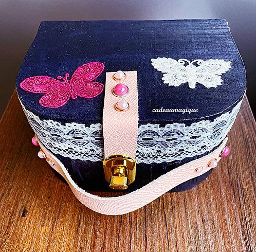 Mini valise bleu nuit et rose en carton : boite déco glamour